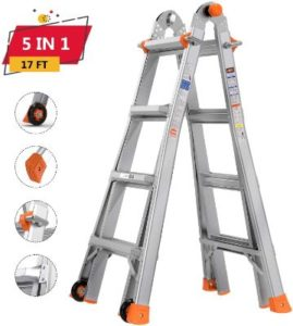 TACKLIFE Folding Multiposition Ladders