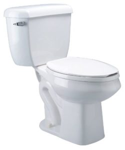 Elongated Pressure Assisted Toilet With Dual Flush