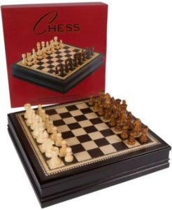 Compact Wooden Chess Board With Wooden Pieces