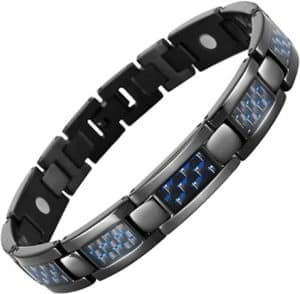 Adjustable Magnetic Bracelet With Blue Carbon Fiber