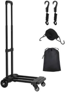 Compact Folding Hand Truck With Bungee Cords