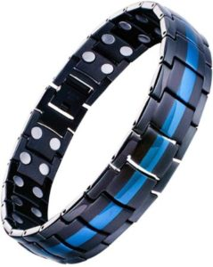 Double Row Magnetic Bracelet With Blue Line