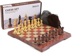 Extra Compact Wooden Travel Chess Set