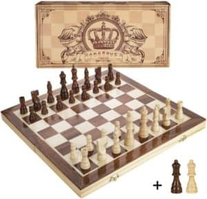 Portable Magnetic Chess Set With Storage Slots