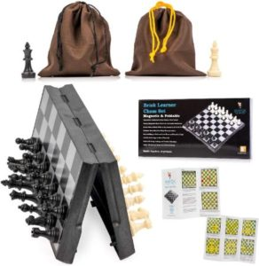 Portable Travel Chess Set With Foldable Board