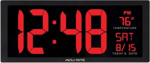 Large LED Digital Wall Clock With Indoor Temperature