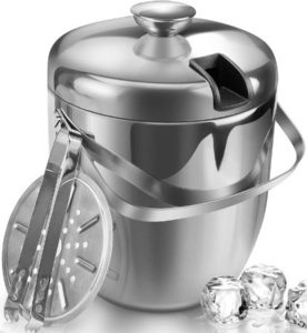 Stainless Steel Double Wall Ice Bucket With Strainer