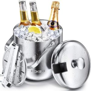 Stainless Steel Double Wall Ice Bucket Set