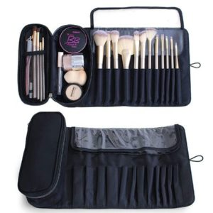 Portable Leather Make Up Brush Bags