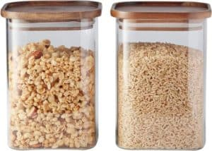 #10. Square Glass Canister With Wood Lid Set
