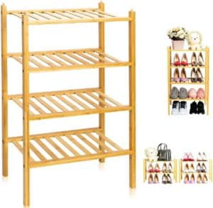 100% Natural Bamboo Stackable Shoe Rack