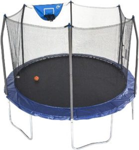 Round Basketball Trampoline WIth Safety Enclosure Net