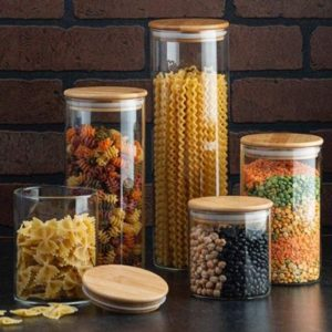Glass Canisters Set With Bamboo Lid