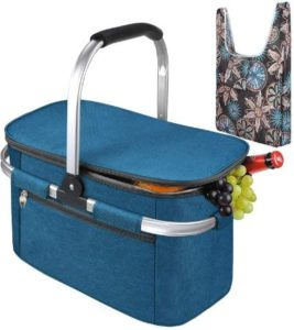 Collapsible Picnic Basket Set With Grocery Bag