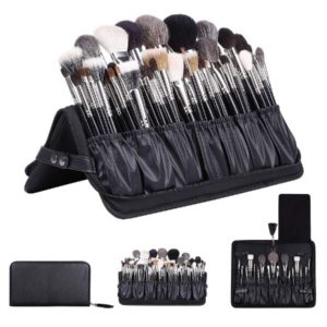 Foldable Leather Make Up Brush Bag