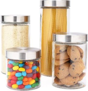Round Glass Canisters With Stainless Steel Lid Set