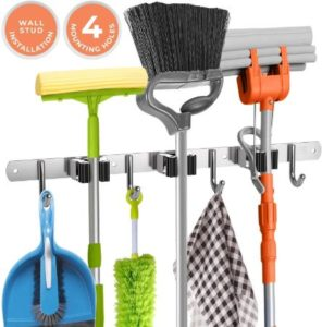Broom Holder With Clamps & Hooks