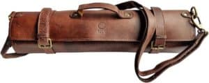 Leather Knife Roll With Expandable & Elastic Pockets