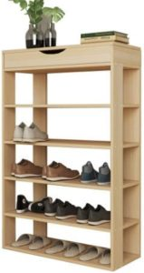 Tall Wooden Shoe Rack Organizer