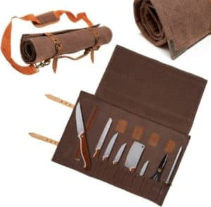 Western Style Leather Knife Roll With Padded Shoulder Strap